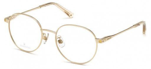 Óculos Feminino Swarovski com Clip Ons SK 5323 H 032 Metal dourado redondo