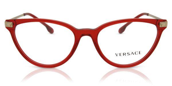 Óculos Feminino Versace 3261 5280 Vermelho Translúcido com Dourado