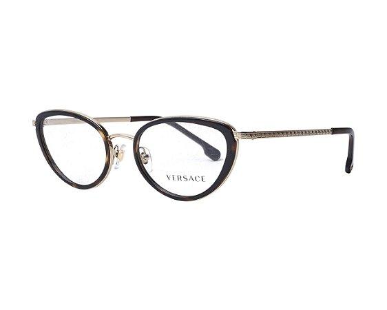 Óculos Feminino Versace 1258 1440 Preto com metal gatinho