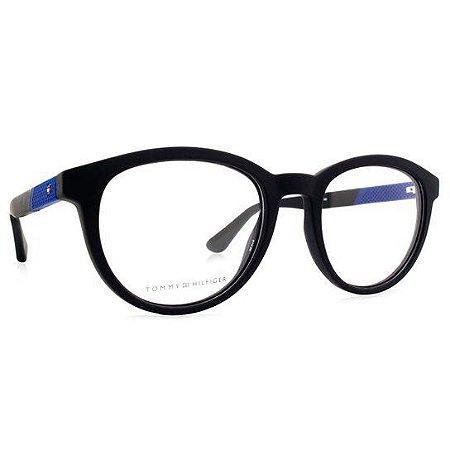 Óculos Masculino Tommy Hilfiger th 1563 003 Preto fosco com azul