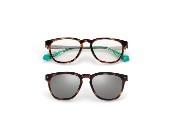 Óculos Polaroid com Clip On PLD 6080/G/CS 45ZEX Tartaruga com Detalhe Verde