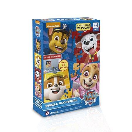 Quebra cabeça Cartonado Patrulha canina Kids (4x 25 peças)