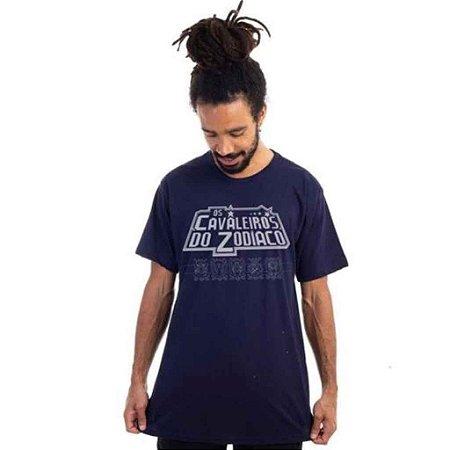 Camiseta Logo Cavaleiros do Zodiaco Marinho