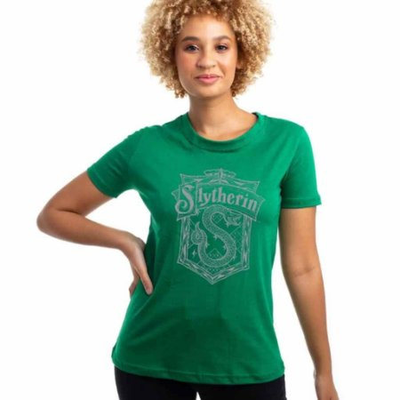Camiseta Harry Potter Casa Sonserina Verde Baby Look