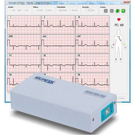 Eletrocardiógrafo 12 derivações para uso em Notebook ou Desktop PC com Software para Windows ECG-12S Ecafix