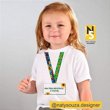 Camiseta Infanto Juvenil Cordão de Girassol e Quebra Cabeça Autismo (Algodão)