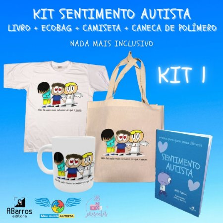 Kit Sentimento Autista Completo: Ecobag + Camiseta + Caneca Polímero + Livro