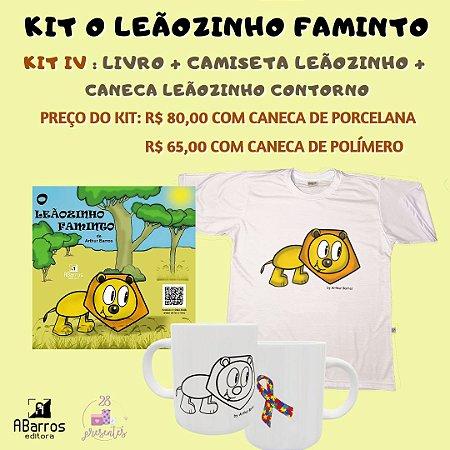 Kit Livro O Leãozinho Faminto - Livro + Camiseta Leãozinho + Caneca Leãozinho Contorno