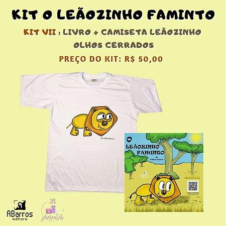 Kit Livro O Leãozinho Faminto - Livro + Camiseta ou Baby Look Leãozinho Olhos Cerrados