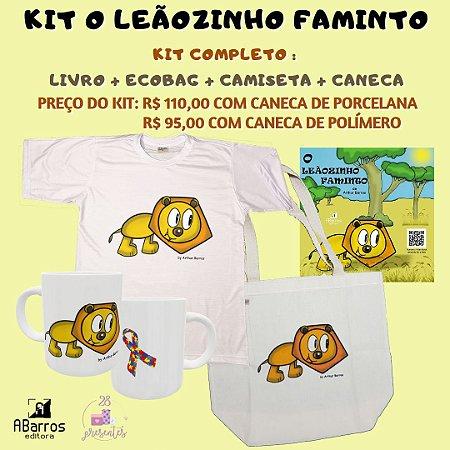 Kit Livro O Leãozinho Faminto - Livro + Camiseta Infanto Juvenil + Ecobag + Caneca Leãozinho