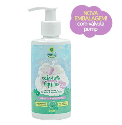 Sabonete Líquido e Shampoo Infantil Relaxante - Verdi - 200 mL - com Óleos Essenciais de Lavanda e Laranja Doce