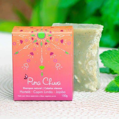 Shampoo Natural em barra Hortelã, Capim Limão e Jojoba – Cabelos Oleosos - 150 g - Pura Chuva