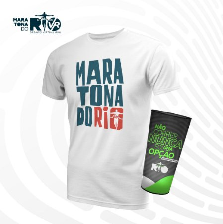 Kit Masculino Camiseta Branca e Copo Desafio Cinemaratona