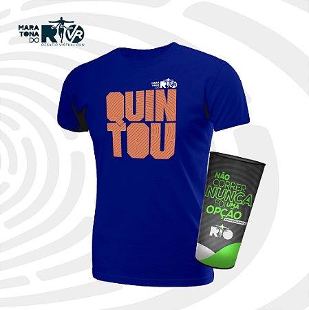 Kit Masculino Camiseta Azul e Copo Desafio Quintou