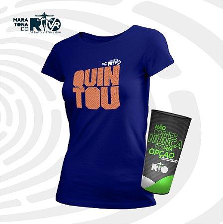 Kit Feminino Camiseta Azul e Copo Desafio Quintou