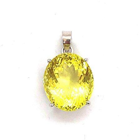 Pingente quartzo lemon pedra facetada com caixa em prata trabalhada