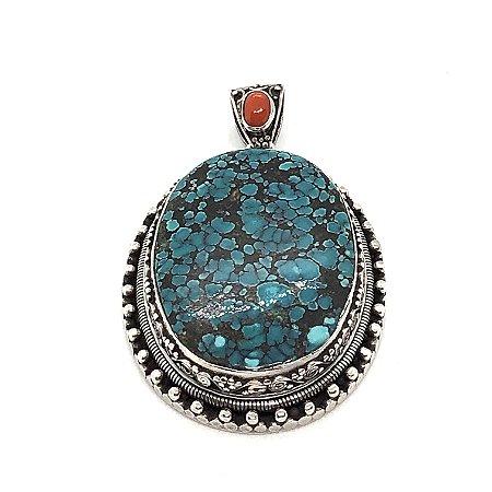 Pingente turquesa oval com detalhe em coral e prata trabalhada