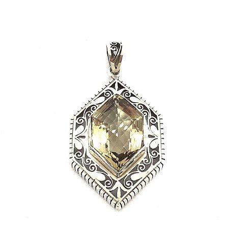 Pingente hexagonal lemon facetado com prata em filigrana