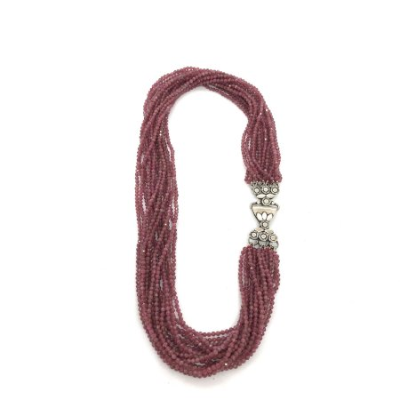 Colar torsade rubi 16 fios com pedrinhas facetadas e fecho trabalhado em prata 925