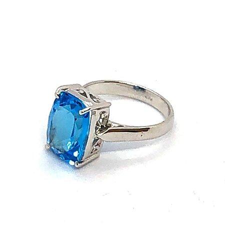 Anel topázio azul pedra retangular facetada e prata 925 trabalhada