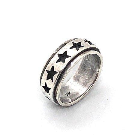 Aliança estrelas giratória prata 925