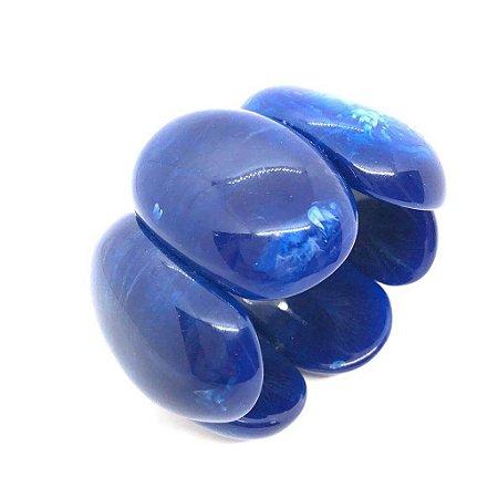 Pulseira placas ovais grandes em resina