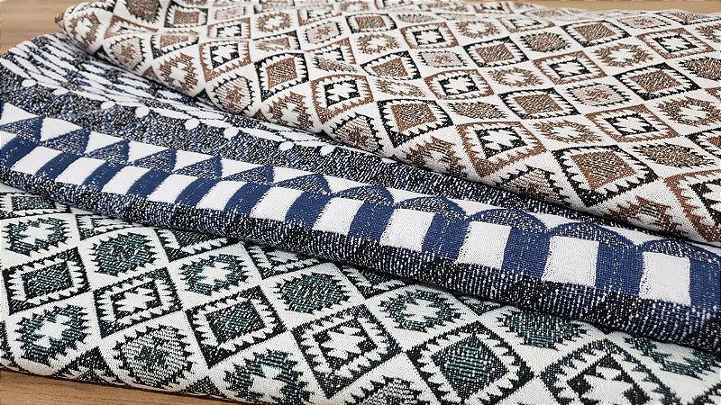 coleção malha jacquard estampas geometricas cortes de 1,50 metro