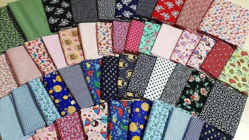 kit tricoline 100% algodão 10 cortes 70x50 CM + 20 cortes de 50x30 CM