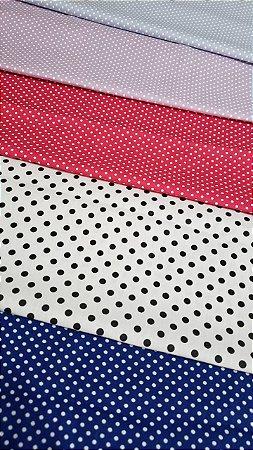 kit 5 cortes de tricoline 100% algodão coleção póas
