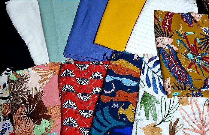 coleção premium kit 3 kg de tecidos planos + aviamentos de brinde