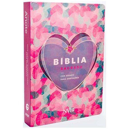 Bíblia Anote NVI com Espaço Para Anotações Coração Rosa