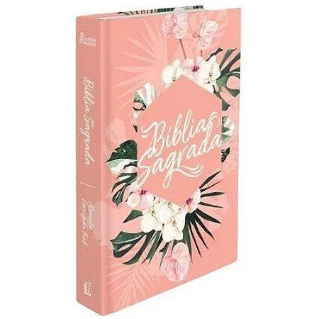 Bíblia Sagrada Capa Dura Floral Rosa Leitura Perfeita
