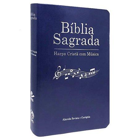 Bíblia Sagrada Harpa Cristã com Musica Capa Luxo Azul