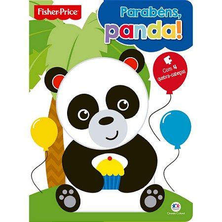 Livro Infantil Fisher Price Parabéns panda com quebra-cabeça