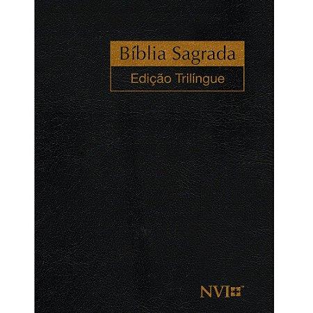 Bíblia Sagrada Edição Trilíngue Extra Gigante Luxo Preta