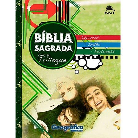 Bíblia Sagrada Edição Trilíngue Capa Brochura Verde