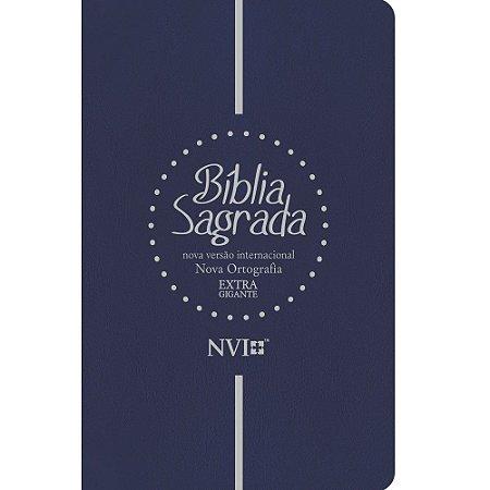 Bíblia Sagrada NVI Extra Gigante Luxo Azul Nova Ortografia