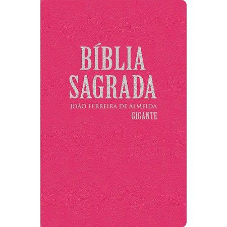 Bíblia Sagrada Revista Corrigida Gigante com Mapas - Semi Luxo Rosa