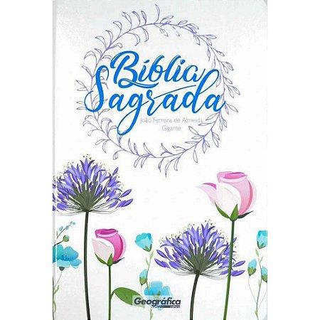 Bíblia Sagrada Letra Gigante Revista Corrigida Floral Branca