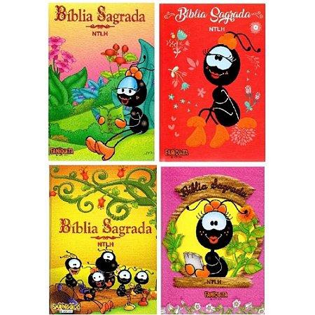 Kit Bíblia Sagrada Ntlh Pequena Capa Dura Smilinguido - 4 unidades