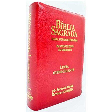 Bíblia Sagrada Letra Hipergigante Revista e Corrigida Harpa e Corinhos Zíper Vermelha