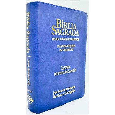 Bíblia Sagrada Letra Hipergigante Revista e Corrigida Harpa e Corinhos Zíper Azul