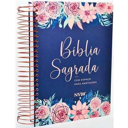 Bíblia Anote NVI com Espaço Para Anotações Espiral Flores