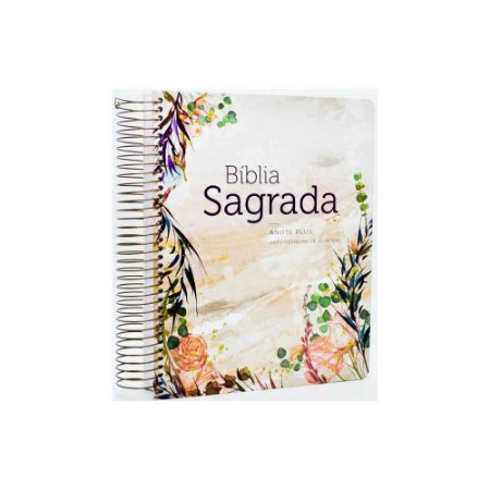 Bíblia Sagrada Anote Plus RC Espiral Capa Dura Flor Marmorizada