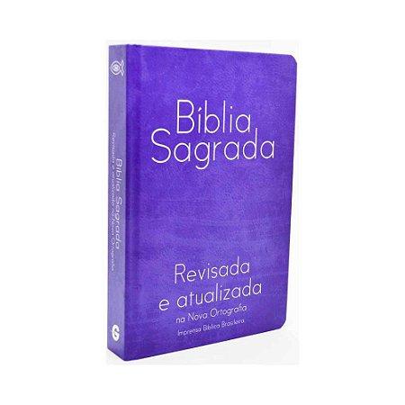 BÍBLIA SAGRADA REVISADA NA NOVA ORTOGRAFIA MÉDIA SEMI LUXO AZUL