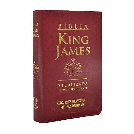 Bíblia King James Atualizada 400 Anos Letra Hipergigante - Média Luxo Vinho