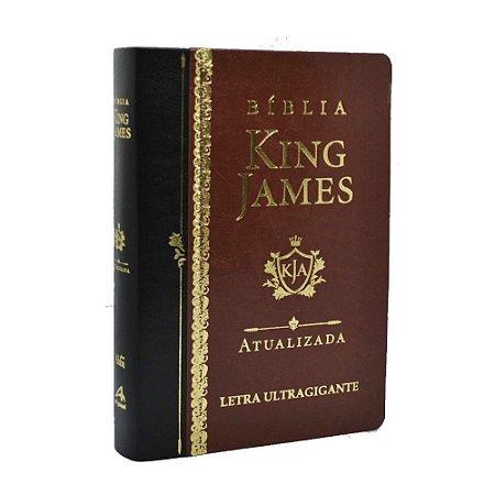 Bíblia King James Atualizada Letra Ultragigante Luxo Marrom
