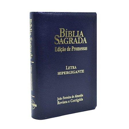 Bíblia Sagrada Letra Hipergigante RC Edição De Promessas Zíper Azul