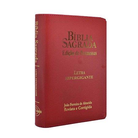 Bíblia Sagrada Letra Hipergigante RC Edição De Promessas Zíper Vermelha