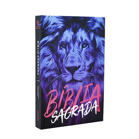 Bíblia Sagrada NAA Média Capa Soft Touch Leão Azul